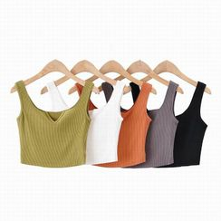 Hollahop - Split-Neck Cropped Tank Top