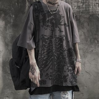 Koiyua - Short-Sleeve Skeleton Print T-Shirt
