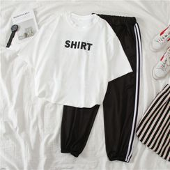 Clover Dream - Set: Lettering T-Shirt + Striped Sweatpants