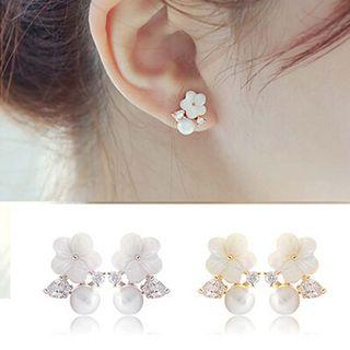 Glamiz - Rhinestone Faux Pearl Flower Earrings