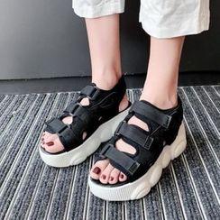 Comof - Fabric Adhesive Strap Platform Sandals