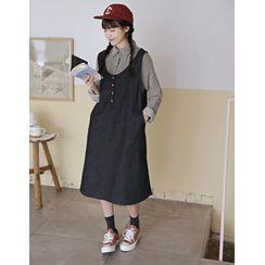 GOROKE - Button-Front Denim Jumper Dress