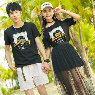 NoonSun - Couple Matching Printed Short-Sleeve T-Shirt / T-Shirt Dress / Mesh Midi Skirt / Set