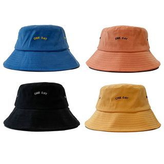 Heloi - Letter Embroidered Bucket Hat