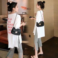 Deverra - Maternity Elbow-Sleeve Chinese Character T-Shirt / Leggings / Set