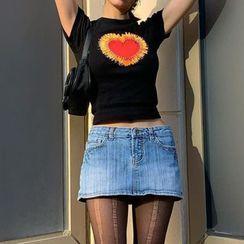 Honet - Short-Sleeve Heart Print T-Shirt