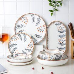 Kawa Simaya - Leaf Print Ceramic Saucer / Bowl / Plate / Spoon