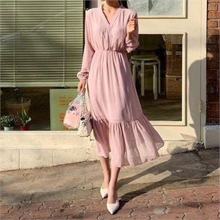 Ontheriver - V-Neck Ruffle-Hem Chiffon Dress