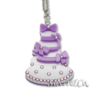 Sweet & Co. - 甜美粉紫波点swarovski碎石蛋糕配银色项链