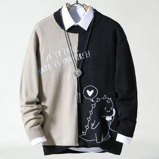 Rampo(ランポ) - Dinosaur Print Panel Sweater