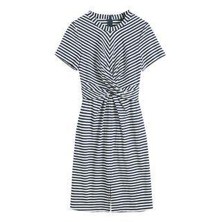 Flaunton - Striped Twisted Short-Sleeve Mini A-Line Dress