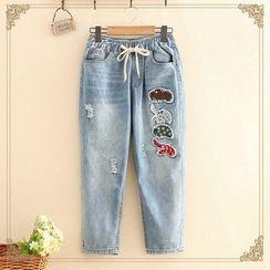 Kawaii Fairyland - Elephant Patch Distressed Jeans