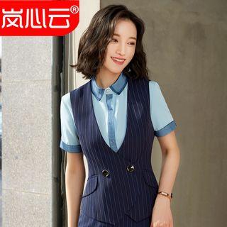 Skyheart - 條紋鈕扣馬甲 / 迷你鉛筆裙 / 窄身西褲 / 長袖襯衫 / 套裝