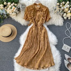Lucuna - Short-Sleeve Ruffled Printed Midi A-Line Dress