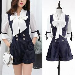 Dimanche - Tie-Neck Blouse/ Pinstripe Sleeveless Playsuit