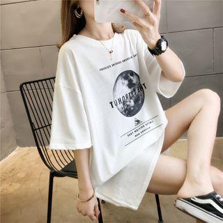 Attis - Printed  Elbow-Sleeve T-Shirt Dress