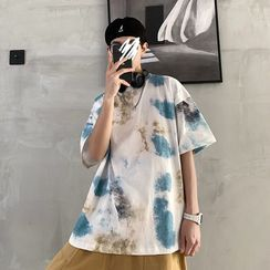 Acrius(アクリウス) - Tie-Dyed Elbow-Sleeve T-Shirt