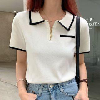 Ashlee - Short-Sleeve Collar Knit Top