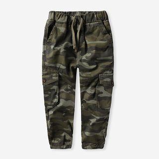 Happy Go Lucky - Kids Drawstring Waist Camouflage Cargo Pants