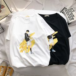 DuckleBeam - Short-Sleeve Graphic Print T-Shirt
