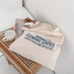 MERONGSHOP - Letter-Printed Cotton Shopper Bag