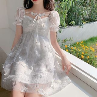Windflower - Puff Short-Sleeve A-Line Lace Dress