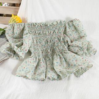 Miss Puff - Off-Shoulder Floral Print Smocked Blouse