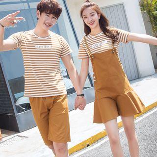 Azure(アズール) - Couple Matching Short-Sleeve Striped T-Shirt / Shorts / Spaghetti Strap Mini Dress