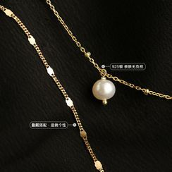 Panstyle - 925 Sterling Silver Faux Pearl Pendant Layered Choker Necklace