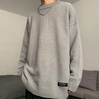 Shineon Studio - Long-Sleeve Loose-Fit Plain Knit Top