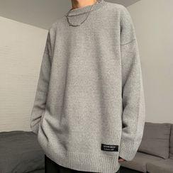 Shineon Studio - 長袖寬鬆純色針織上衣