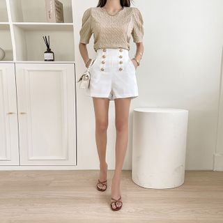 DABAGIRL - Button-Trim Zip-Back Shorts