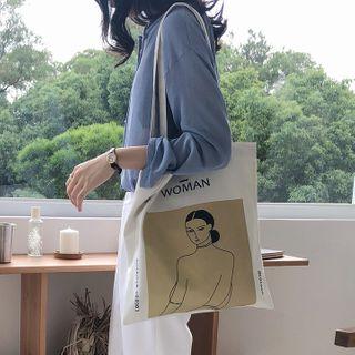 Leftsac - Cartoon Print Canvas Tote Bag