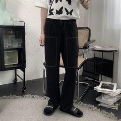 Mr. Wordy - 配色飾縫線直筒褲