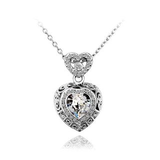 BELEC - Fashion Heart Pendant with White Austrian Element Crystal and Necklace