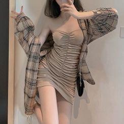 Windflower - Plaid Shirt / Ruched Strapless Mini Sheath Dress