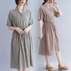 Lewwe - Short-Sleeve Striped Shift Dress