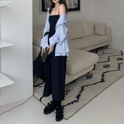 Grendi - Spaghetti Strap Plain Jumpsuit / Striped Shirt