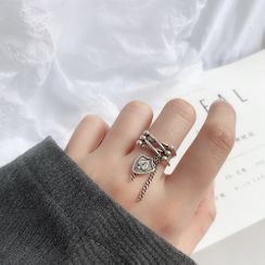 ERMIE - 925 Sterling Silver Spade Charm Layered Open Ring