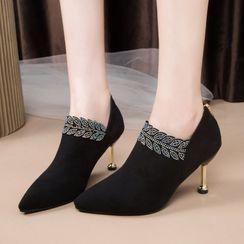 Wello - Rhinestone Pointy-Toe Stiletto Heel Shoes