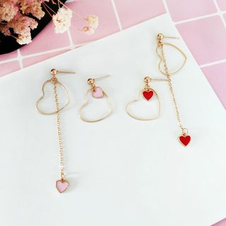 Siatra - Heart-Accent Asymmetric Drop Earrings