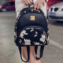 I.O.U - Studded Floral Print Faux-Leather Backpack