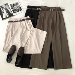 DIYI - Belted Wide-Leg Dress Pants