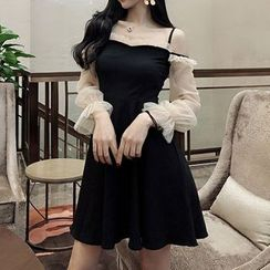 STARK - Off-Shoulder Long-Sleeve A-Line Dress