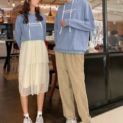 Harbor Duo - Couple Matching Lettering Hoodie / Midi A-Line Hoodie Dress