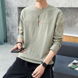 Obikan - Embroidered Long-Sleeve T-Shirt