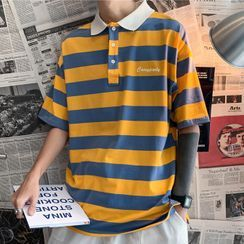 Wescosso - Lettering Striped Polo Top