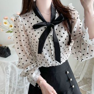 MyFiona - Tie-Neck Lace-Trim Dotted Blouse