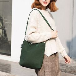 Ms Bean - Plain Canvas Crossbody Bag