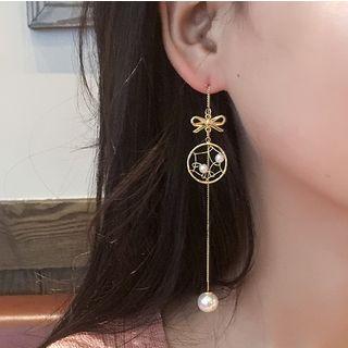 Seoul Young - Faux Pearl Alloy Hoop Dangle Earring